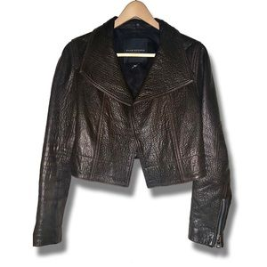 Club Monaco Collection cropped Lamb leather jacket